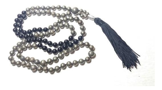 Japamala Pulseira Pirita Turmalina Negra 108 Prata Tibetano
