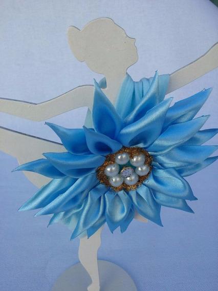 Bandana Azul Bebê, Em Meia De Seda Com Flor Estilo Girassol