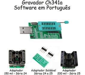 Gravador Ch341a Ch341 Usb Bios Eprom Soic8 Sop8 24xx 25xx
