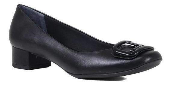 Sapato Scarpin Jorge Bischoff Salto Grosso Em Couro