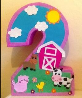 Piñata Infantil Número Granja Cumpleaños Personalizado