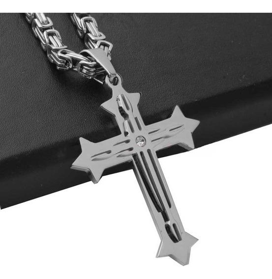 Corrente Cordão Crucifixo Aço Inoxidável Veneziana Cruz
