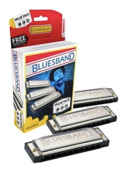 Kit Com 3 Gaitas Hohner Bluesband C - G - A