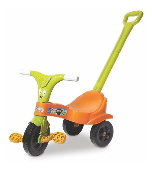 Triciclo Com Empurrador Motoca Infantil Laranja Com Haste