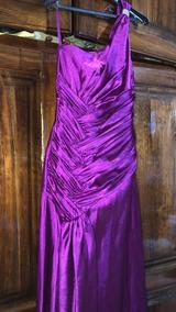 Elegante Vestido Largo Púrpura Satinado