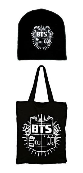 Kit 2 Pcs Touca + Bolsa Tecido Bts Antigo Logo Anime K-pop