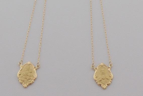 Escapulário Ornato Dupla Face 60 Cm Cordão Cadeado Ouro 18k