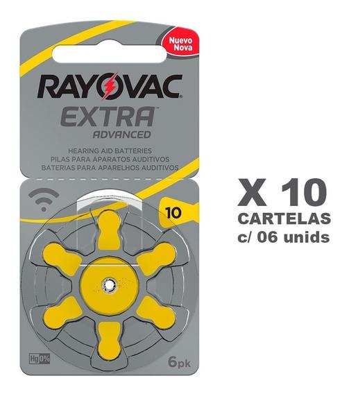 Bateria Pilha Auditiva Rayovac Tamanho 10 Com 60 Unidades