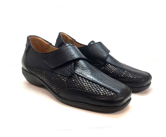 Zapato De Cuero Cómodo Para Damas Modelo 3617 / Negro
