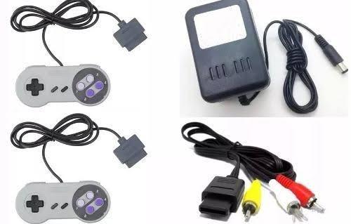 Kit Para Super Nintendo 2 Controles, Fonte E Cabo Av
