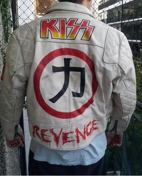 Campera Cuero Legitimo Blanco Kiss Rock Star Unica !!