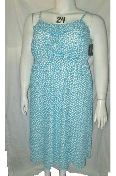 Vestido Largo ,azul Cielo Estampado Talla Plus 24 (44 Mex)