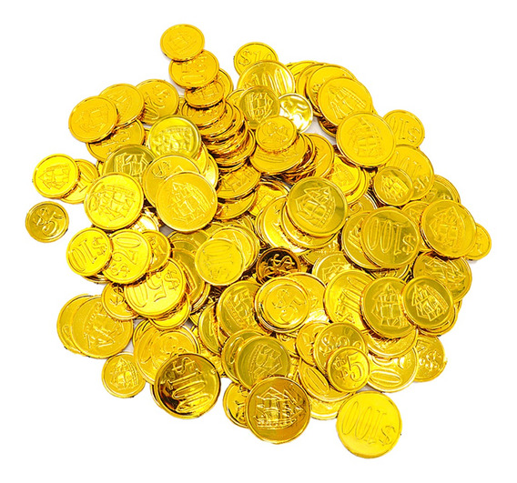 100 Pcs Tamanho Misto Plástico Dourado Pirata Tesouro Moedas