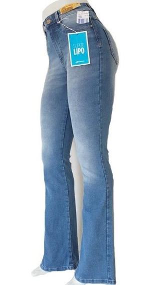 Calça Jeans Sawary Flare Super Lipo Cintura Alta Azul