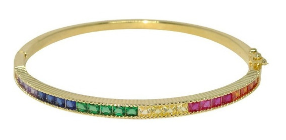Bracelete Rainbow Zircônias Coloridas Banhado A Ouro