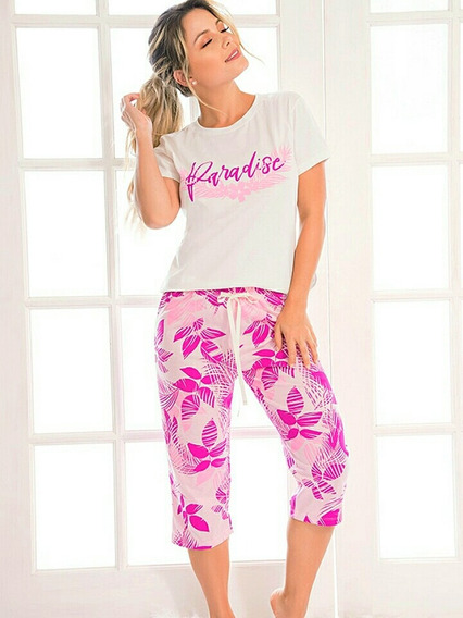Pijama Paradise Flowers Mujer Juvenil Pantalón Capri X 1 Und