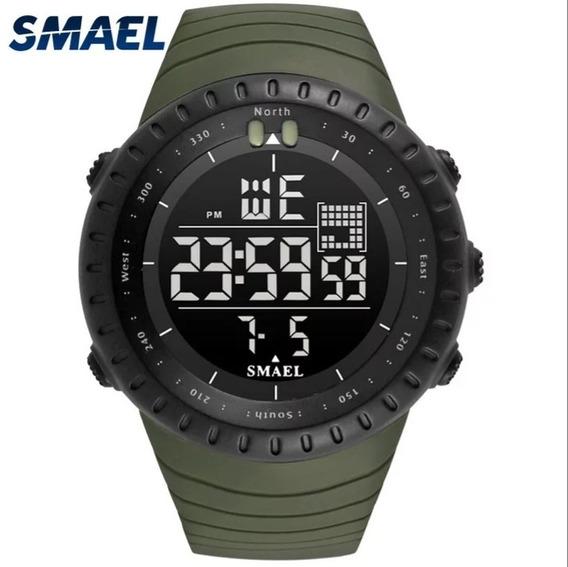 Relógio Smael 1237 Verde Militar Esportivo - A Prova D