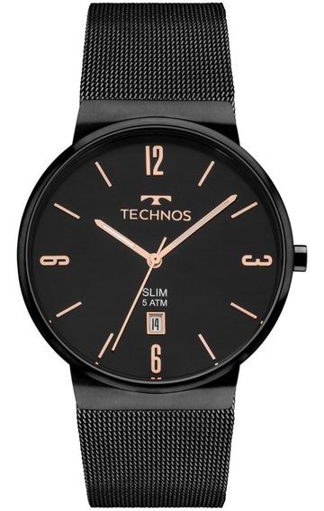 Relógio Technos Feminino Slim Gm10yj/4p Preto Rose Analogico