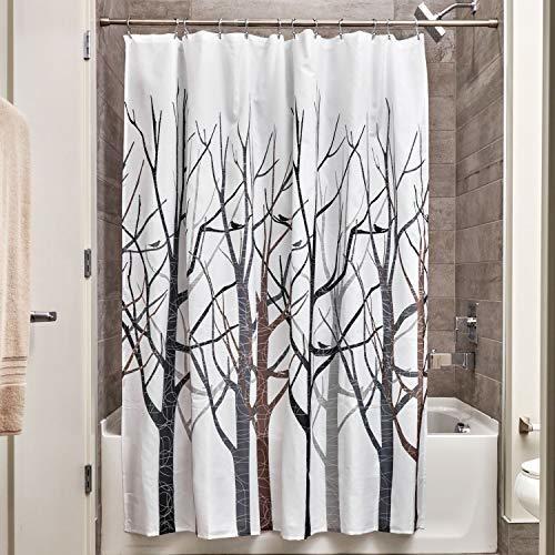 Cortina Para Ducha Interdesign Forest Fabric, 72 X 72, Negro