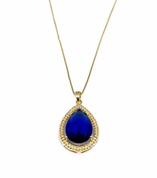 Colar Gota Azul Safira Folheado A Ouro 18k Com Garantia