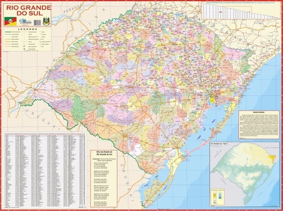 Mapa Estado Do Rio Grande Do Sul - Sc - 120cm X 90cm Gigante