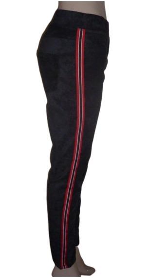 Calza Pantalón Gamuzada Elastizada Franja Roja Bolsillos Suave Y Cómoda