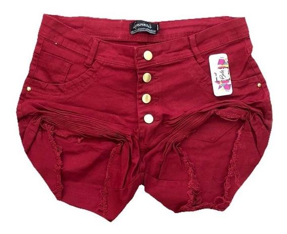 Short Feminino Plus Size Vermelho Moda