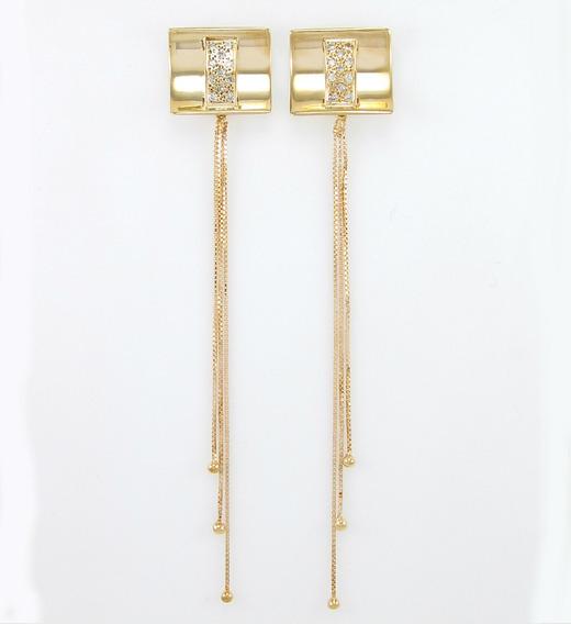 Brinco Pendende Comprido Com Diamantes Ouro Amarelo 18k 750.