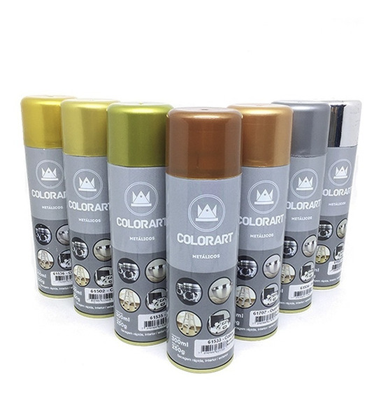 Kit 2 Tintas Spray Cores Metálicas Todas As Cores Colorart