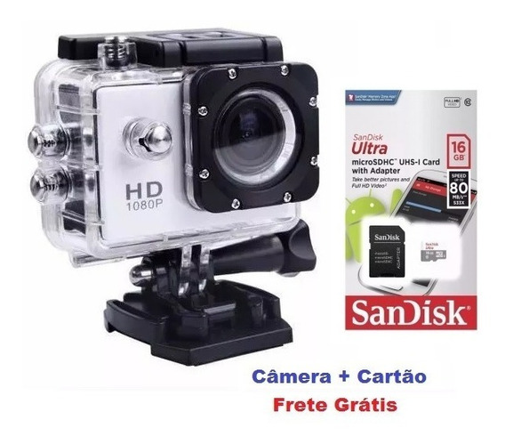 Câmera Estilo Gopro Full Hd 1080p Moto Bike + Cartão 16gb
