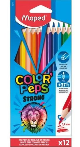Lapices De Colores Jumbo Plast Color Peps Strong X12 Maped