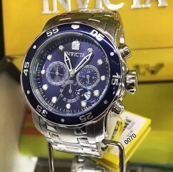 Relógio Masculino Invicta 0070 21921 Prata Fundo Azul 100% Original
