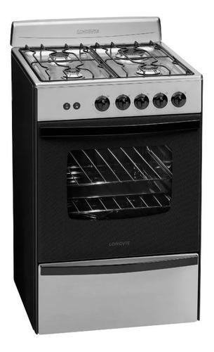 Cocina Longvie Standard 13331 multigas 4 hornallas  acero inoxidable 220V puerta  con visor 70L