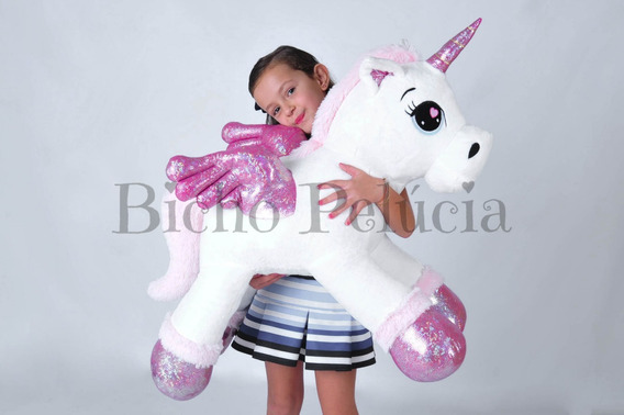 Unicórnio Pelúcia Gigante Bebê Fofinho Branco 88cm