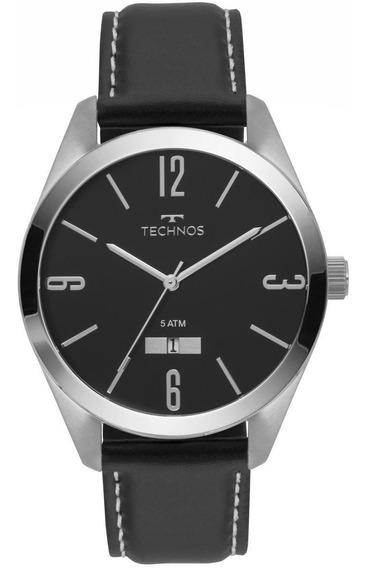 Relógio Masculino Technos Couro Preto 2115mnx1p
