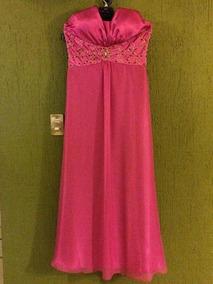 Vestido Formal Largo Color Fucsia Claro Con Piedras Talla 10