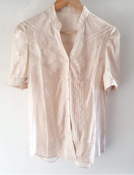 Camisa Manga Corta Con Tablitas Y Puntilla