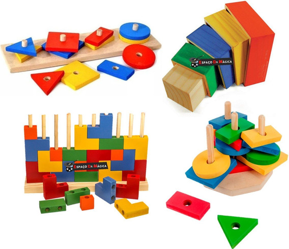 Jogos Educativos Pedagógicos - 4 Jogos Em Madeira