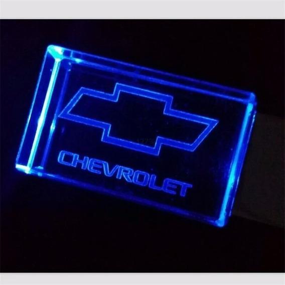 Pen Drive 16gb Cristal Led Chevrolet Azul C/ Caixa Portátil