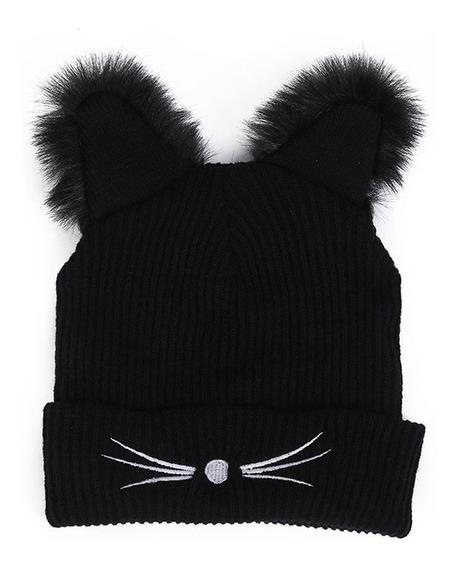 Divertido Diseño De Orejas De Gato Sombrero De Punto Gorra C
