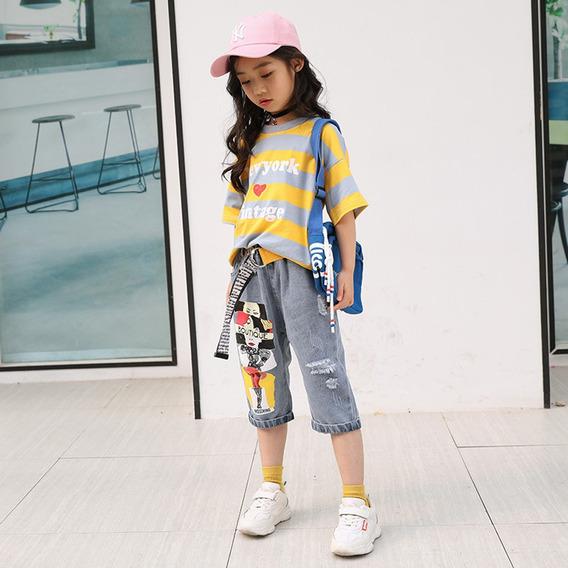 Menina Camiseta Verão + Jeans Set Amarelo_140cm
