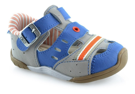 Tênis Infantil Menino Baby Kidy Colors 00804151596 16 Ao 22 Taupe Azul