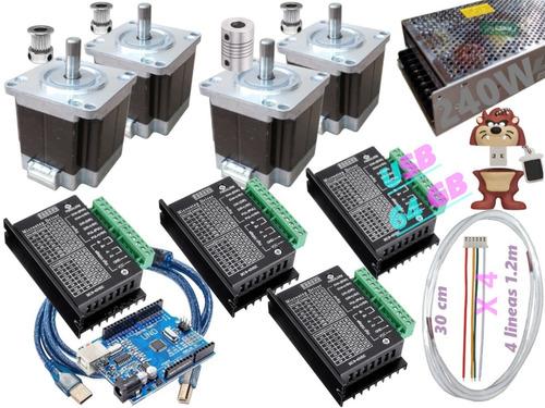Kit Arduino Cnc. Mot A Pasos 13kg-cm Nema 23 Tb6600 Cd. 240w