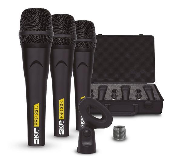 Conjunto Com 3 Microfones Profissionais Skp Pro 33k Original