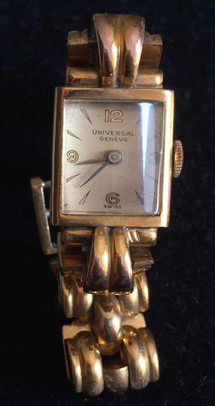 Relógio Vintange Universal Geneve Feminino Em Plaquê