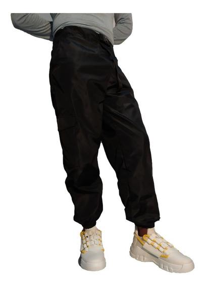 Pantalon Joggers Hip Hop Con Cinturon Cargo Negro