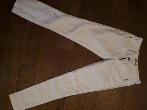 Pantalon De Jean Blanco Con Cierre En Bota T38 Nuevo