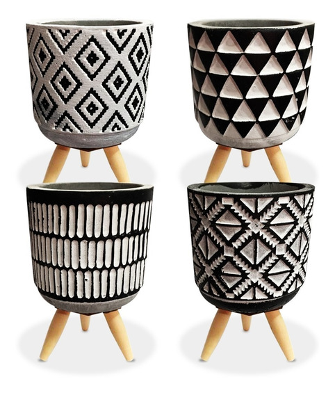 Kit 4 Vaso Cerâmica Cachepot Decorativo P/ Planta Suculenta