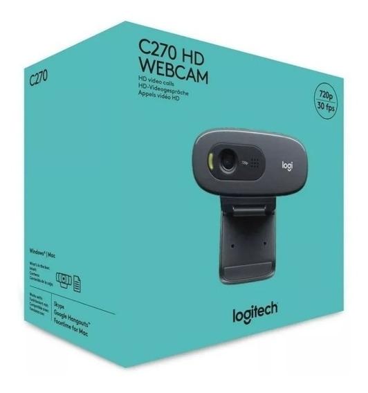 Webcam Logitech C270 Hd 720p 3 Mega Preta Nova Lacrada C/nf