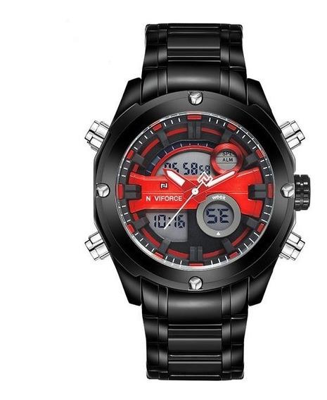 Relógio Masculino Esportivo Naviforce Nf9088/vermelho